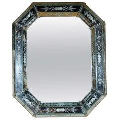 Hand-Etched, Octagonal Venetian Mirror