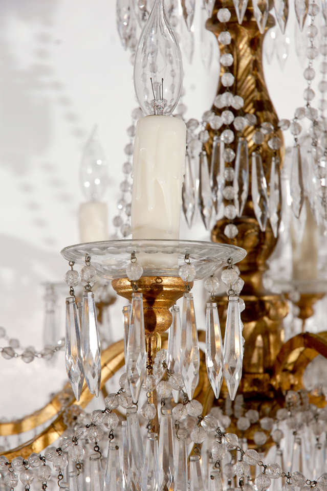19th c., Cut Crystal Chandelier In Excellent Condition For Sale In Newport Beach, CA