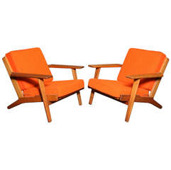 Pair of Teak Paddle Arm Chairs with Orange Fabric
