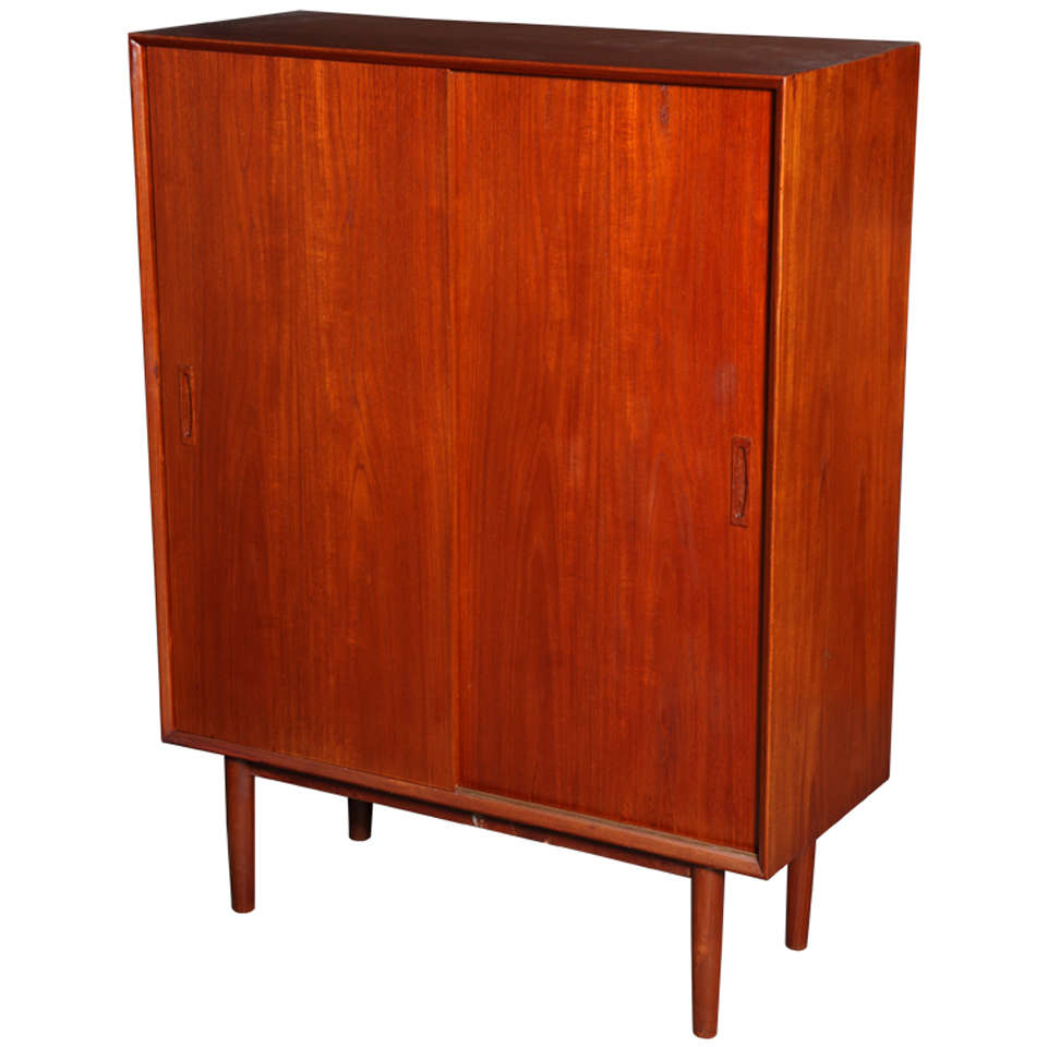 Danish modern teak tall cabinet at 1stdibs for Modern teak kitchen cabinets