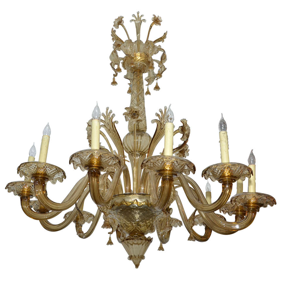 Murano Glass Chandelier Large: Large 1930-1940 Italian Murano Glass Chandelier At 1stdibs