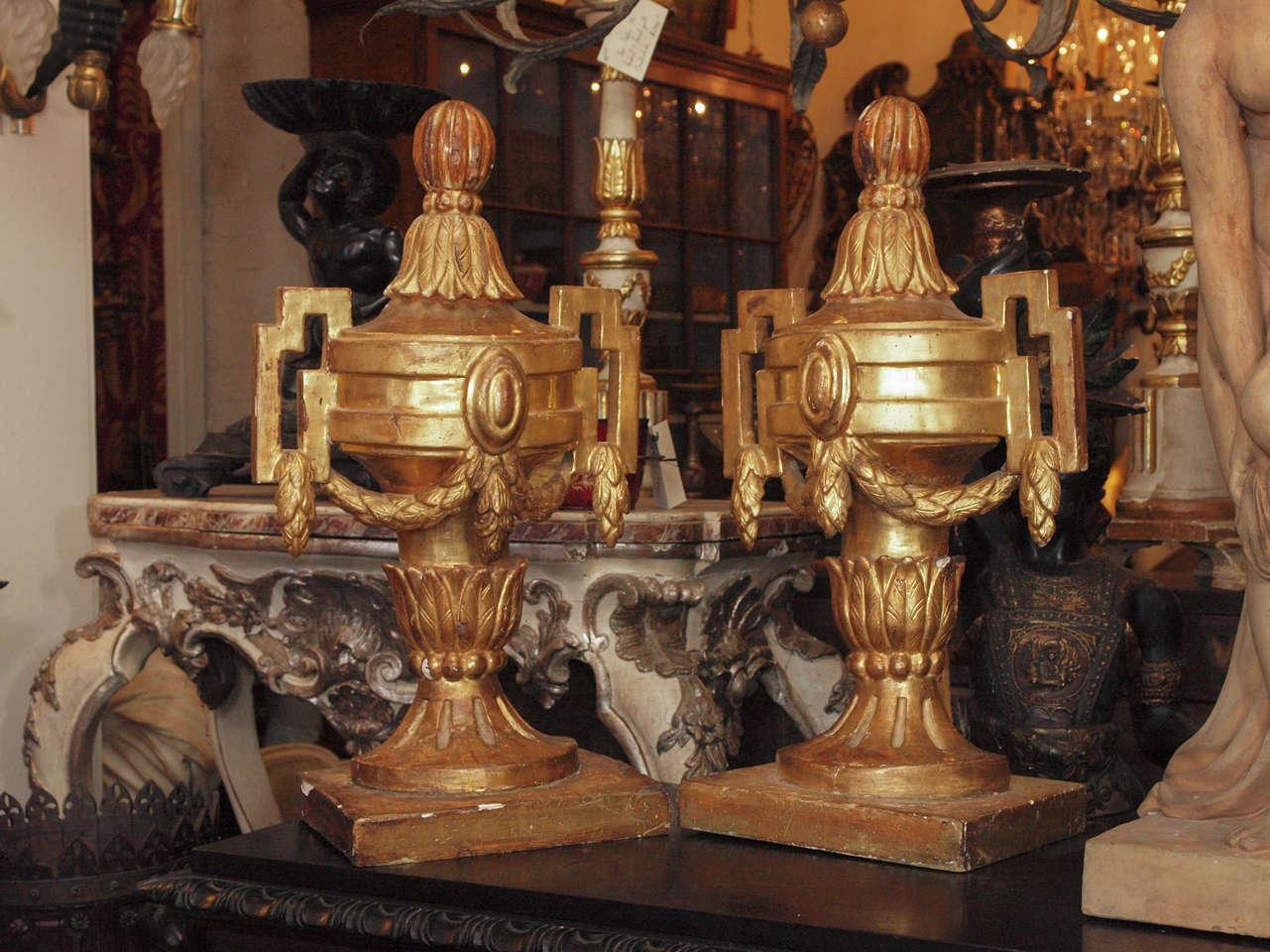 Pair of 18th c. Louis XVI Italian Gilt Wood Urns