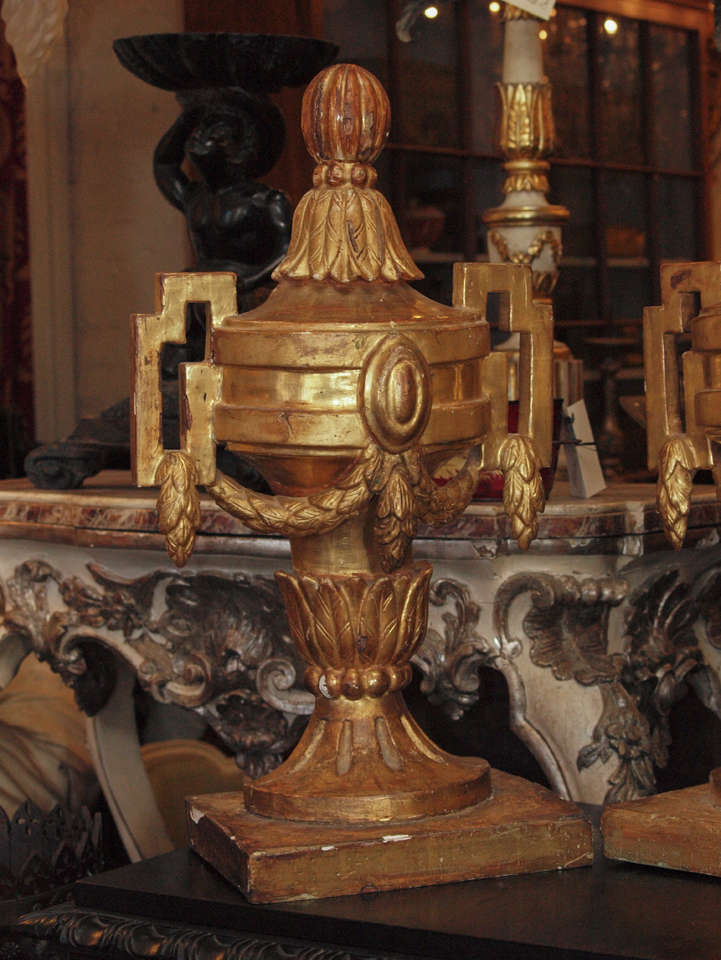 Carved Pair of 18th c. Louis XVI Italian Gilt Wood Urns For Sale