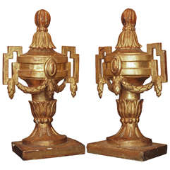 Pair of 18th c. Louis XVI Italian Gilt Wood Urns