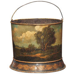 French Painted Tole Peat Bucket