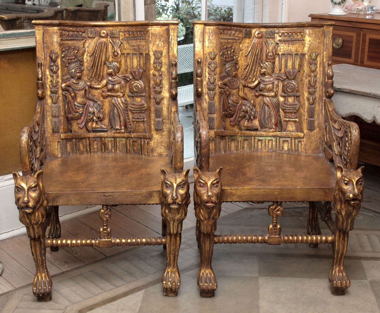 Pair of Egyptian Revival Giltwood Throne Chairs 2