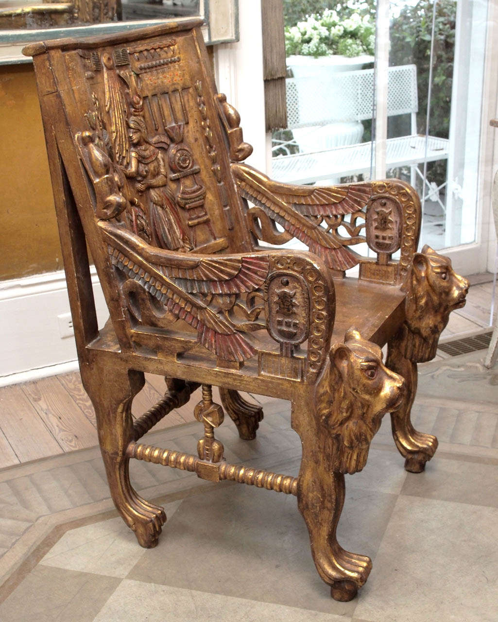 Pair of Egyptian Revival Giltwood Throne Chairs 5
