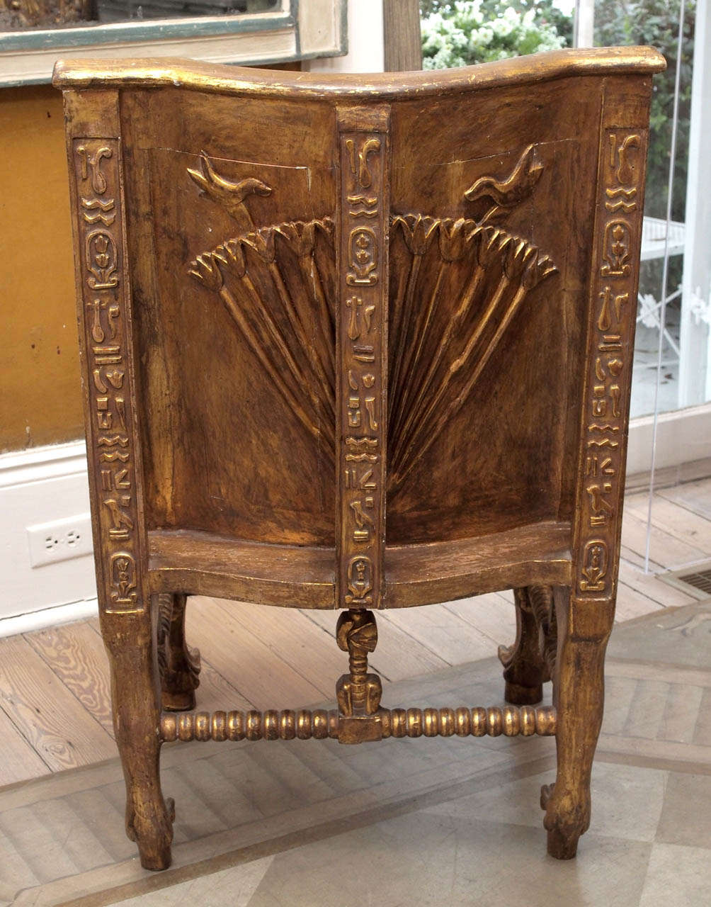 Pair of Egyptian Revival Giltwood Throne Chairs 10