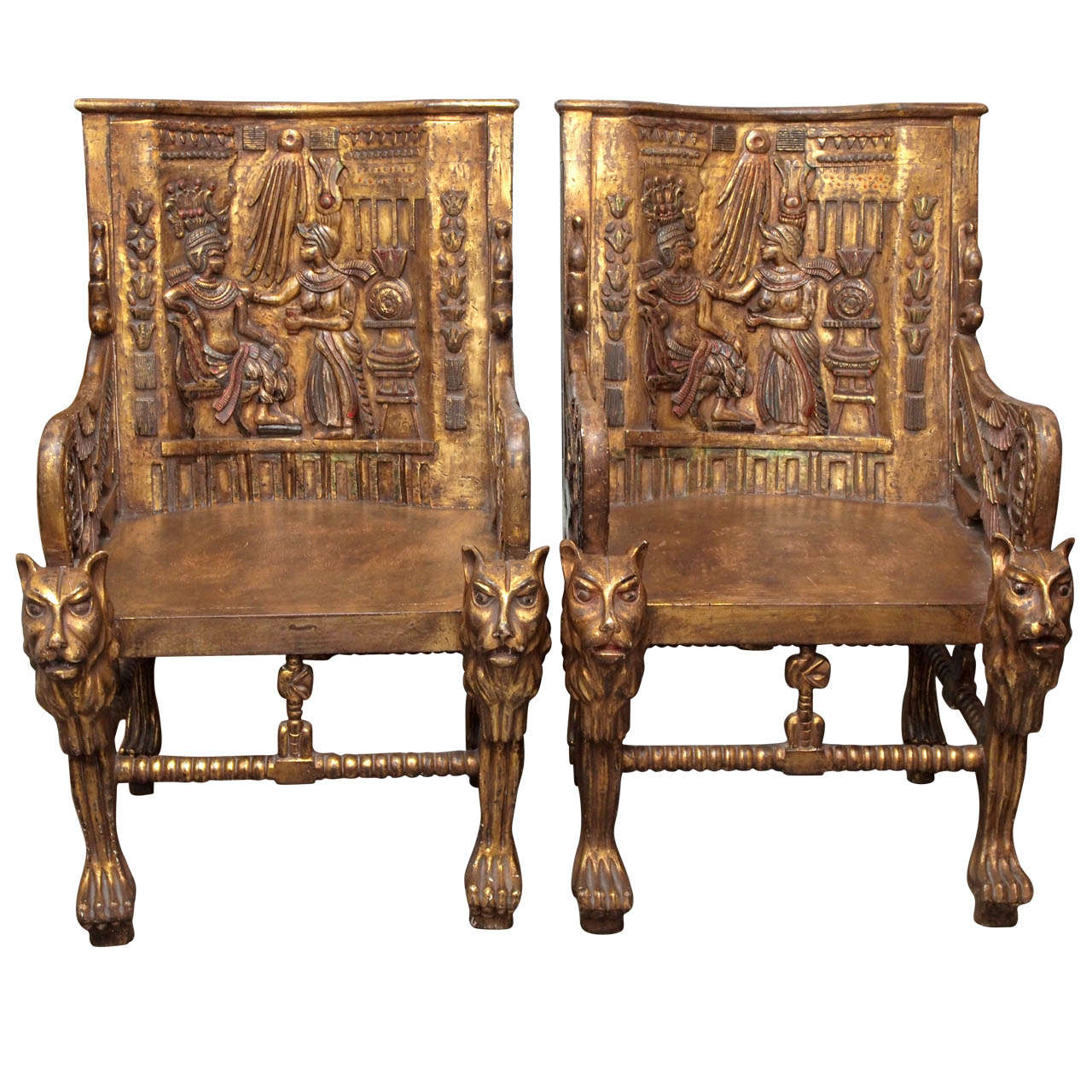 Pair Of Egyptian Revival Giltwood Throne Chairs At 1stdibs