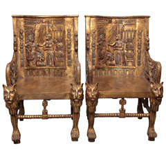 Pair of Egyptian Revival Giltwood Throne Chairs