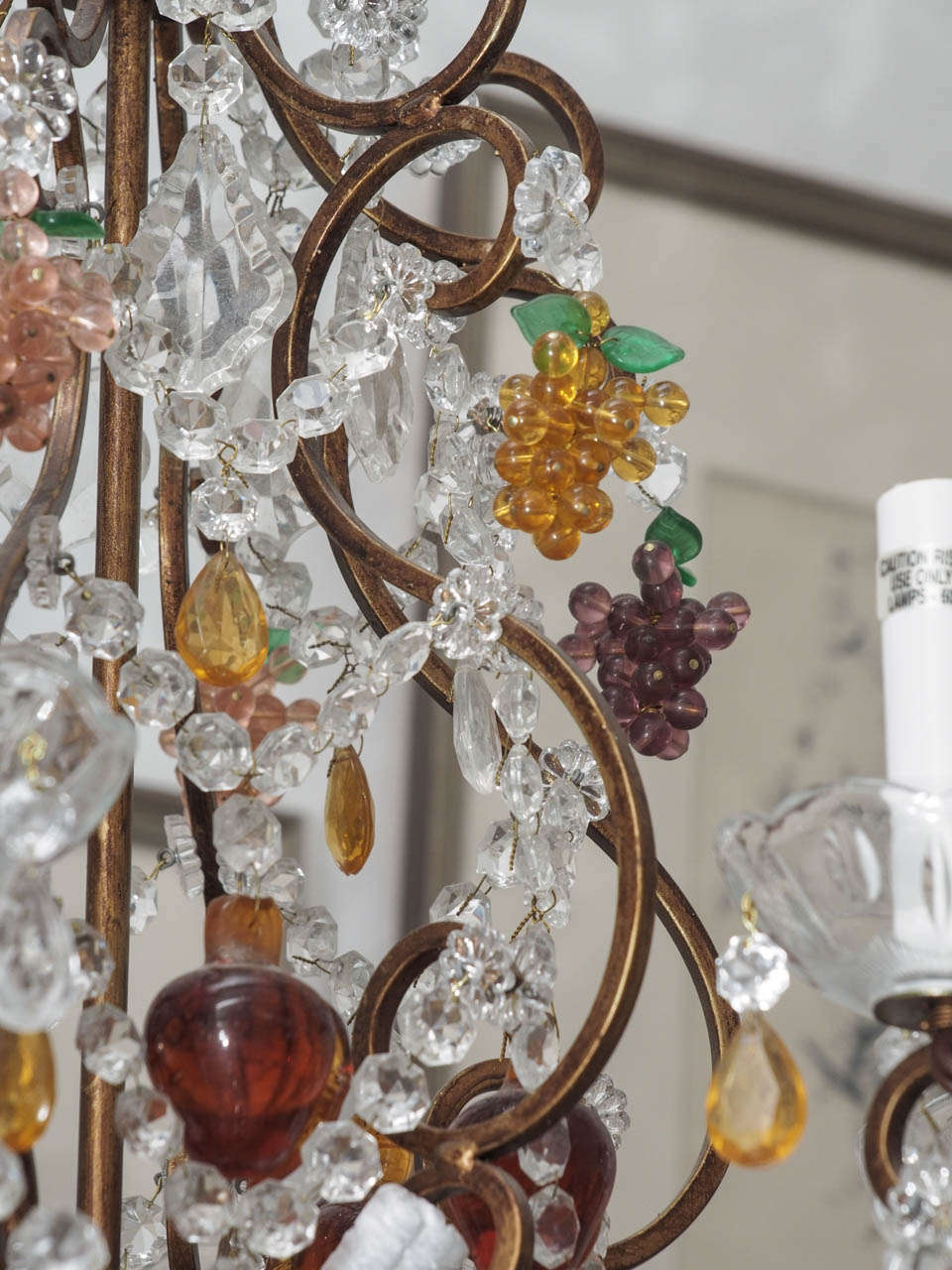 Crystal Chandelier With Grape Motif At 1stdibs