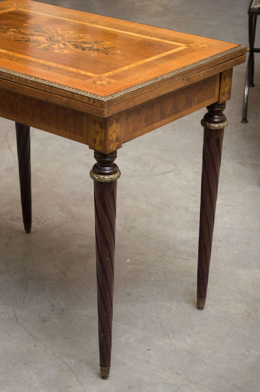 Late 19th Century French Fruitwood Card Table With Elaborate Wood Inlay 3