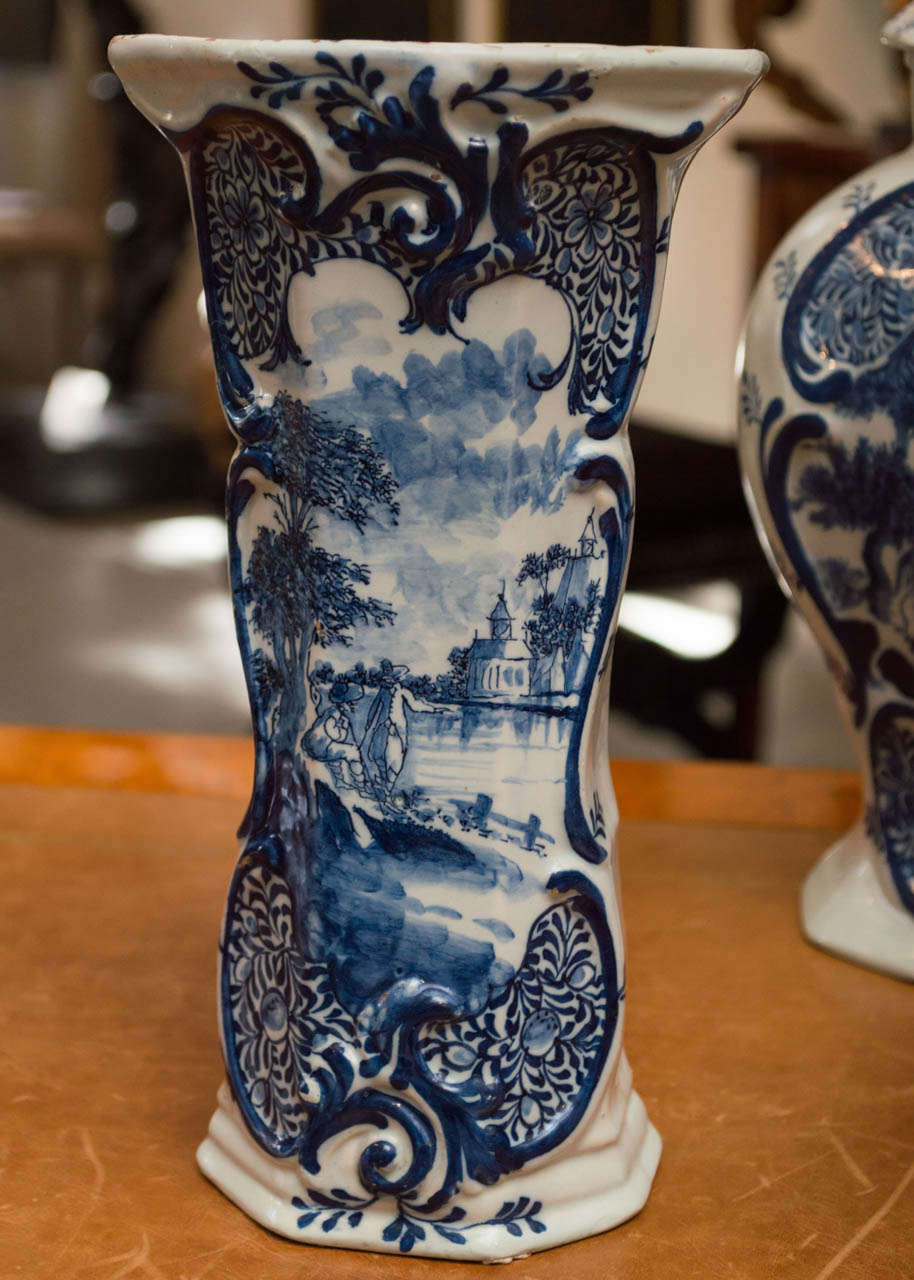 18th Century Hand Painted Porcelain Delft Blue Jars And
