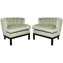 Pair of Art Deco Channel Back Slipper Chairs