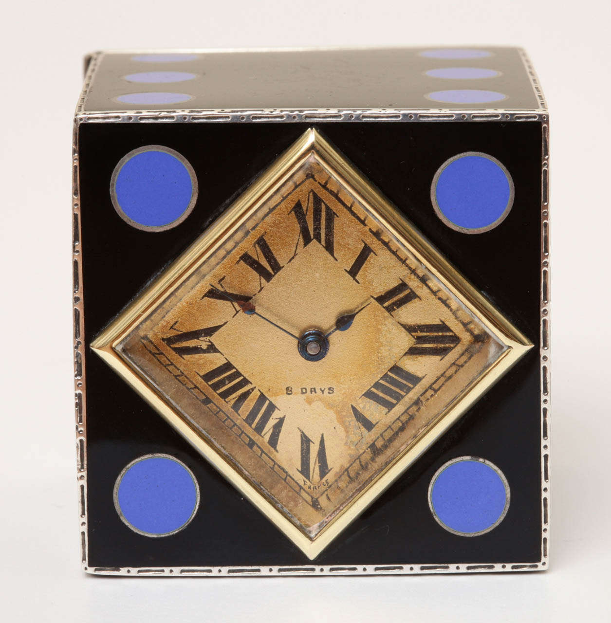 Art Deco Enamel Clock by J.E. Caldwell In Excellent Condition For Sale In New York, NY