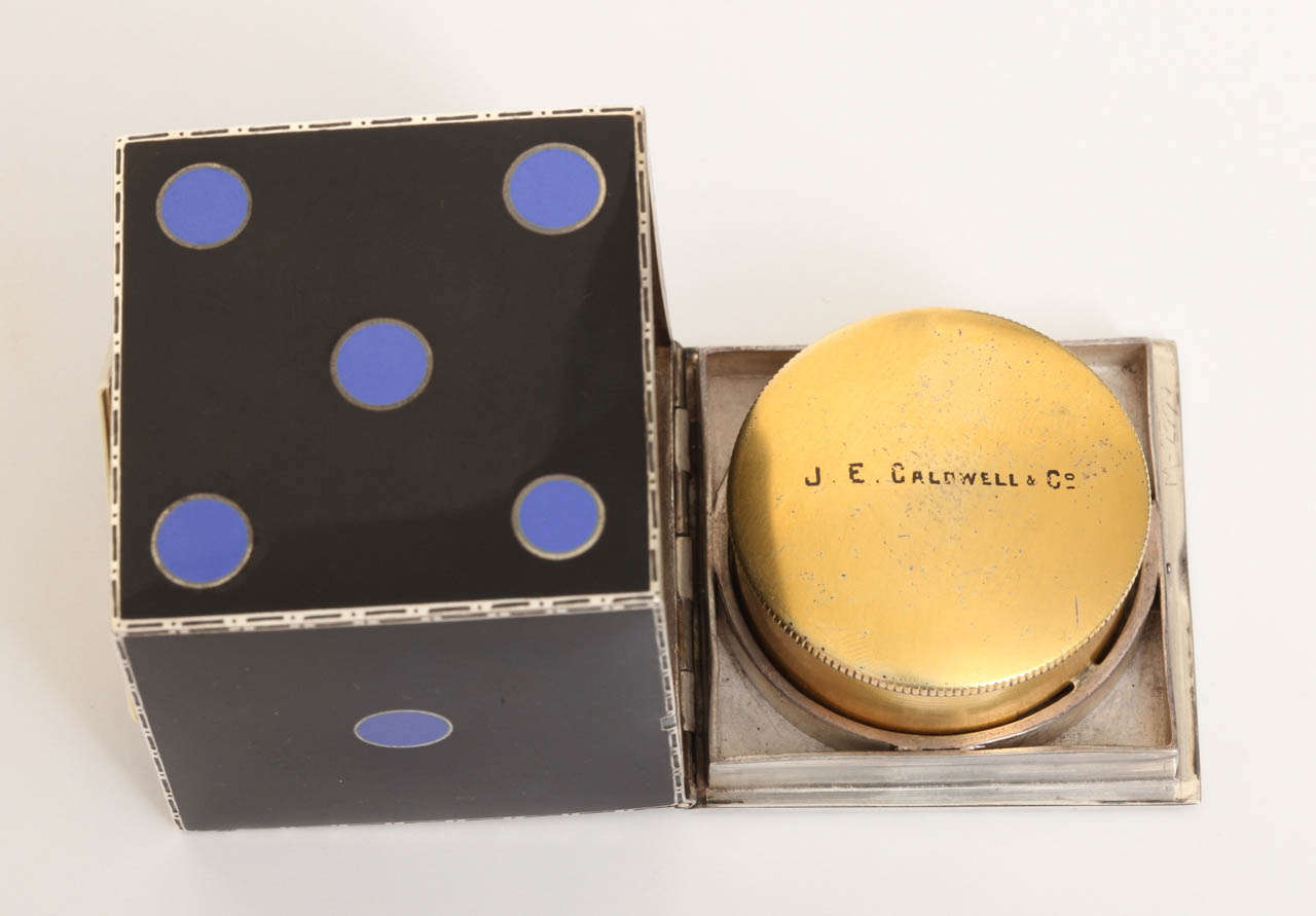 Art Deco Enamel Clock by J.E. Caldwell For Sale 6