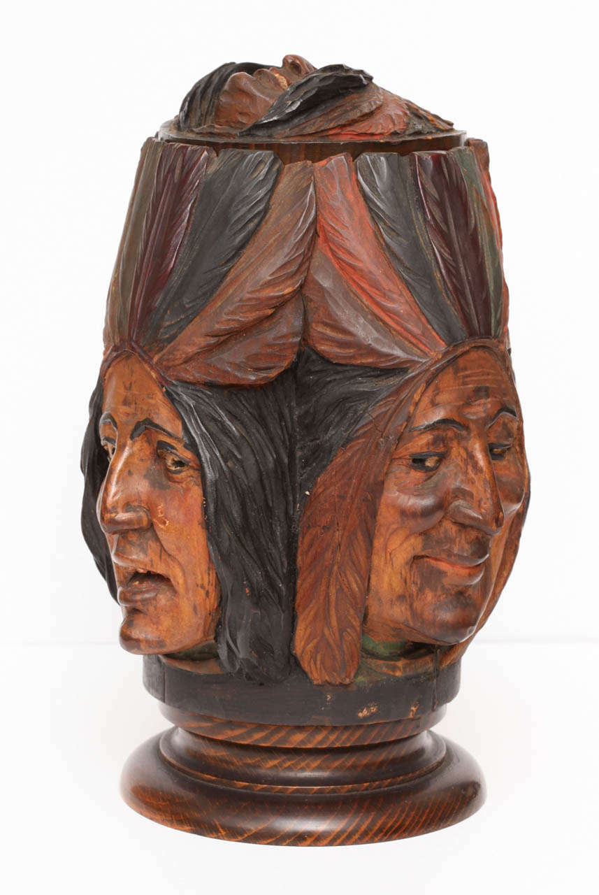 Hand-carved Wooden Indian Tobacco Box In Good Condition For Sale In New York, NY