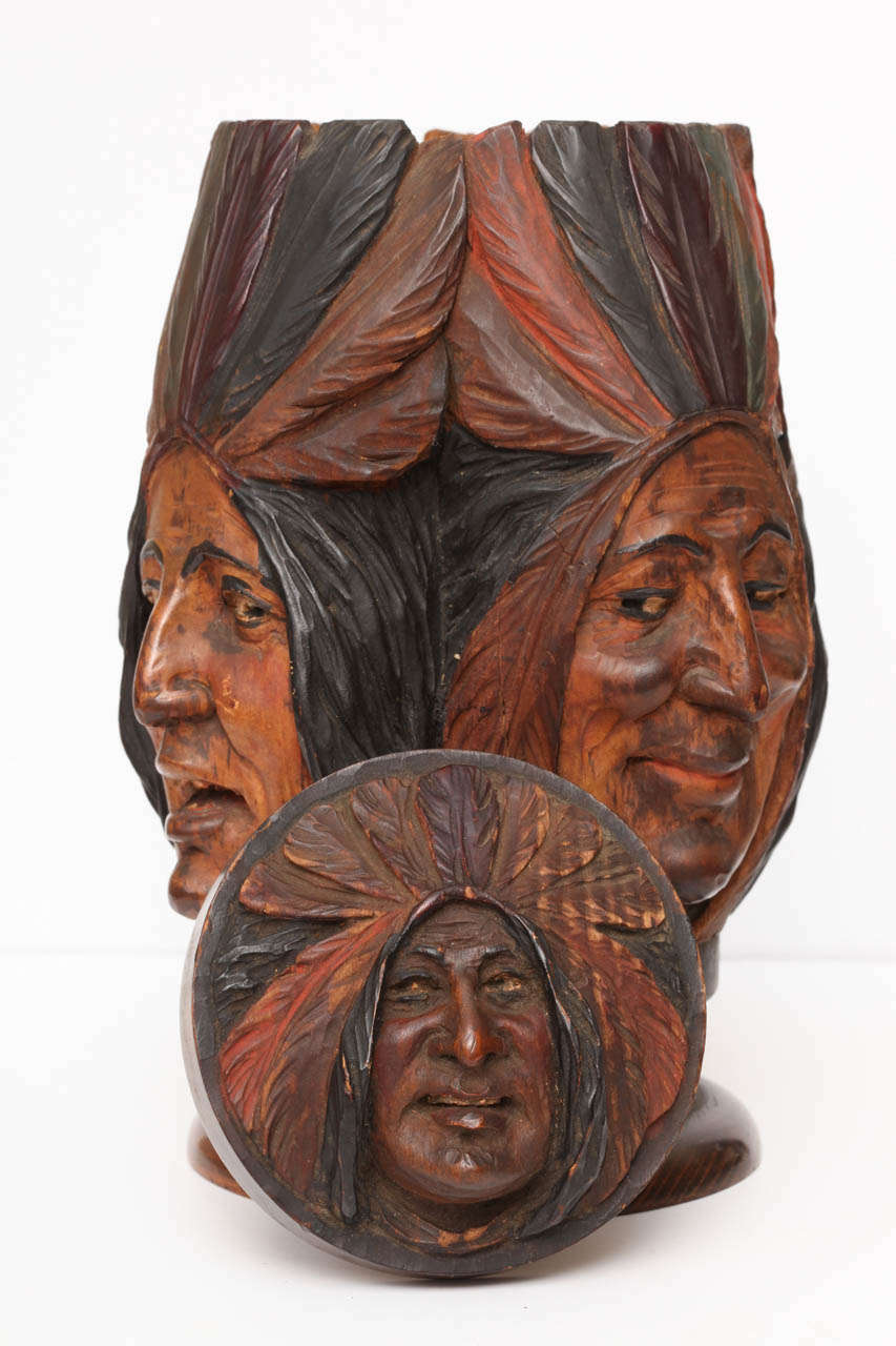 Hand-carved Wooden Indian Tobacco Box For Sale 4