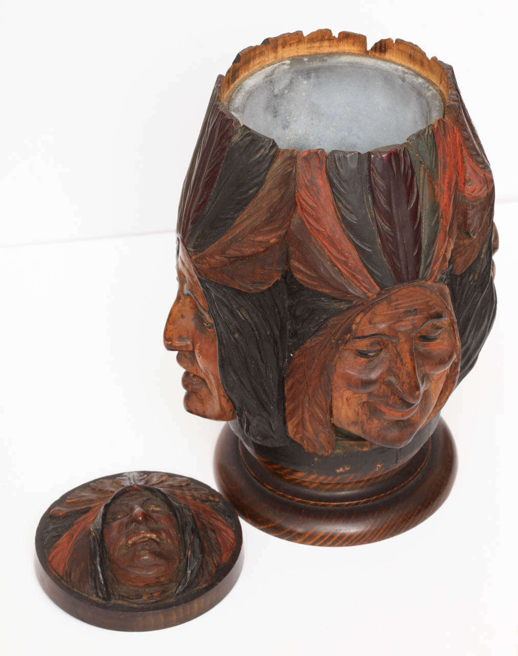 Hand-carved Wooden Indian Tobacco Box For Sale 6