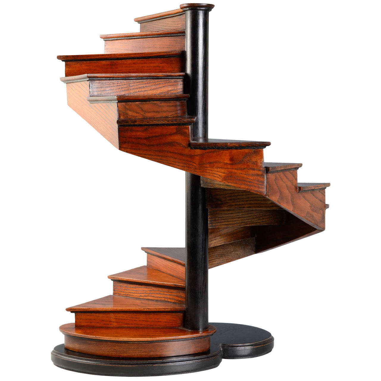 19th Century French Oakwood Masterpiece Spiral Open Stair For Sale