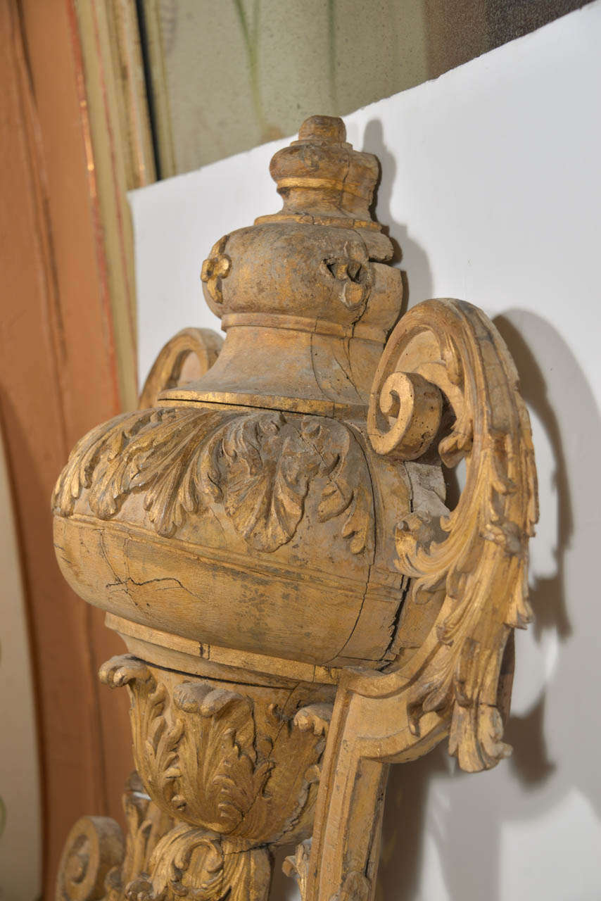 Wood Large 18th Century Louis XVI Carved Urn For Sale