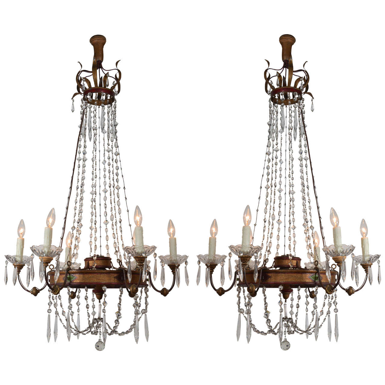 Pair 19th C Tole And Crystal Chandeliers At 1stdibs