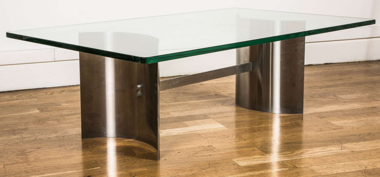 Glass 1970s Coffee Table Attributed to Francoise See For Sale