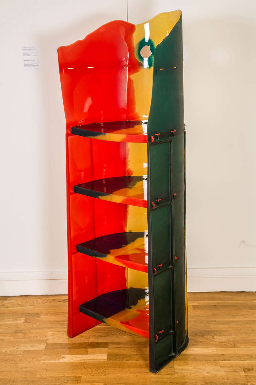 Library or bookcase of the Nobody's perfect series in resin by Gaetano Pesce. Edited by Zerodesigno, 2003. Four adjustable shelves with five positions. The use of colored resin blends makes each bookcase unique. Rear openings on each back shelf and