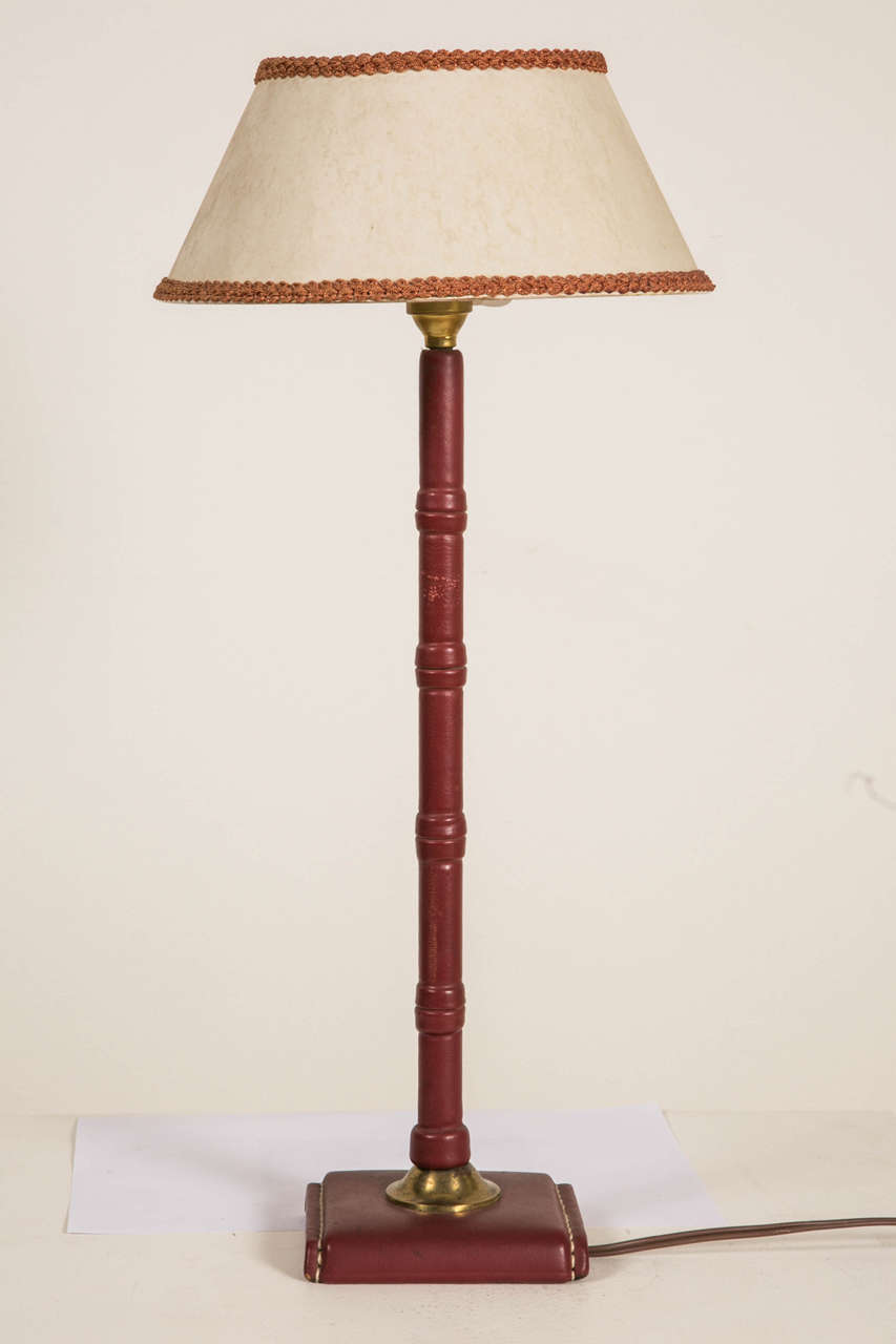 French 1950s Leather Covered Table Lamp by Jacques Adnet
