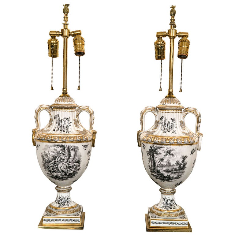 Pair of 19th Century French Porcelain Urns as Table Lamps For Sale