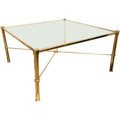French Modernist Brass Cocktail Table