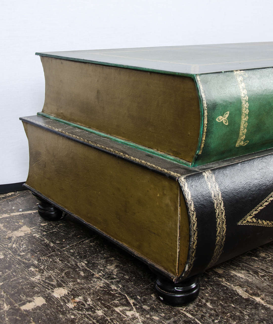 French Riviera Coffee Table Book: French Leather Coffee Table In The Shape Of Books, Circa