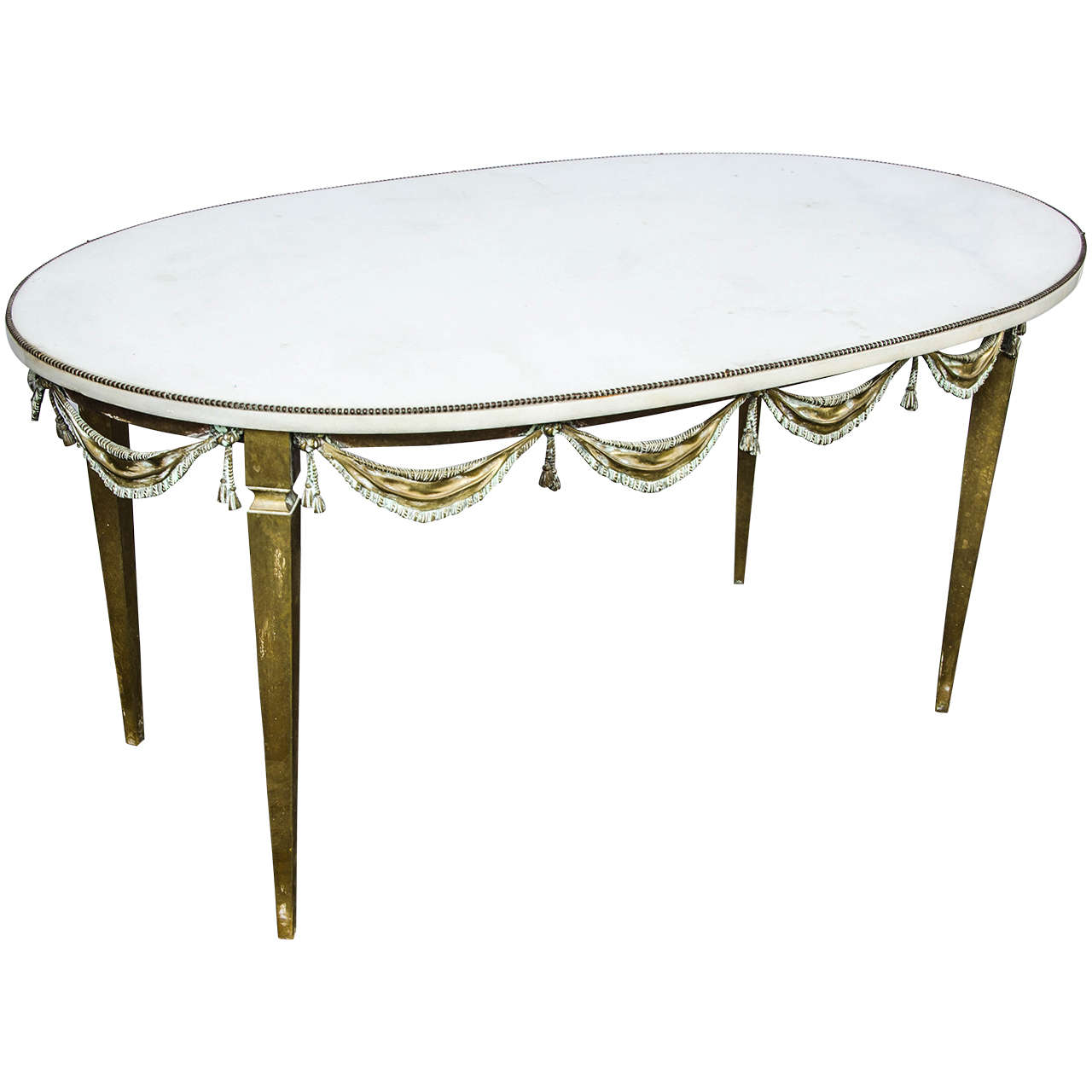French 1920s Brass And Marble Coffee Table At 1stdibs