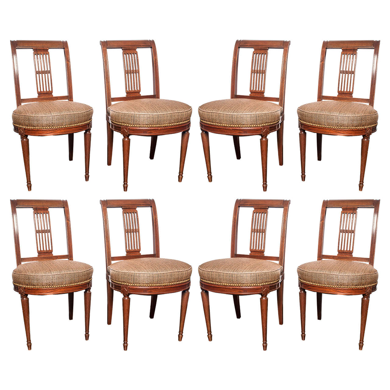 Set of Eight Mid-Century French Mahogany Dining Chairs