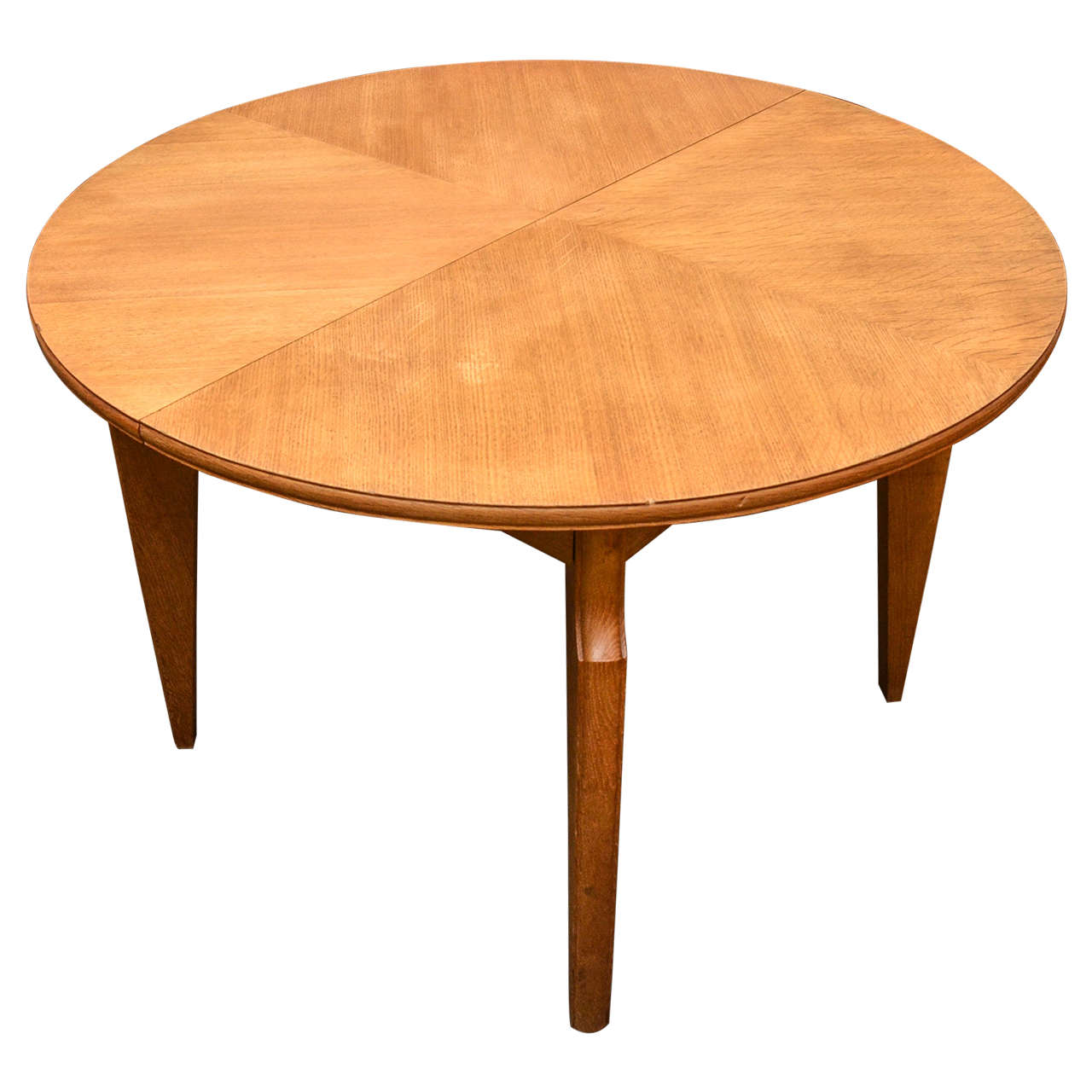 Round oak extendable dining table for sale at 1stdibs for Round extendable dining table
