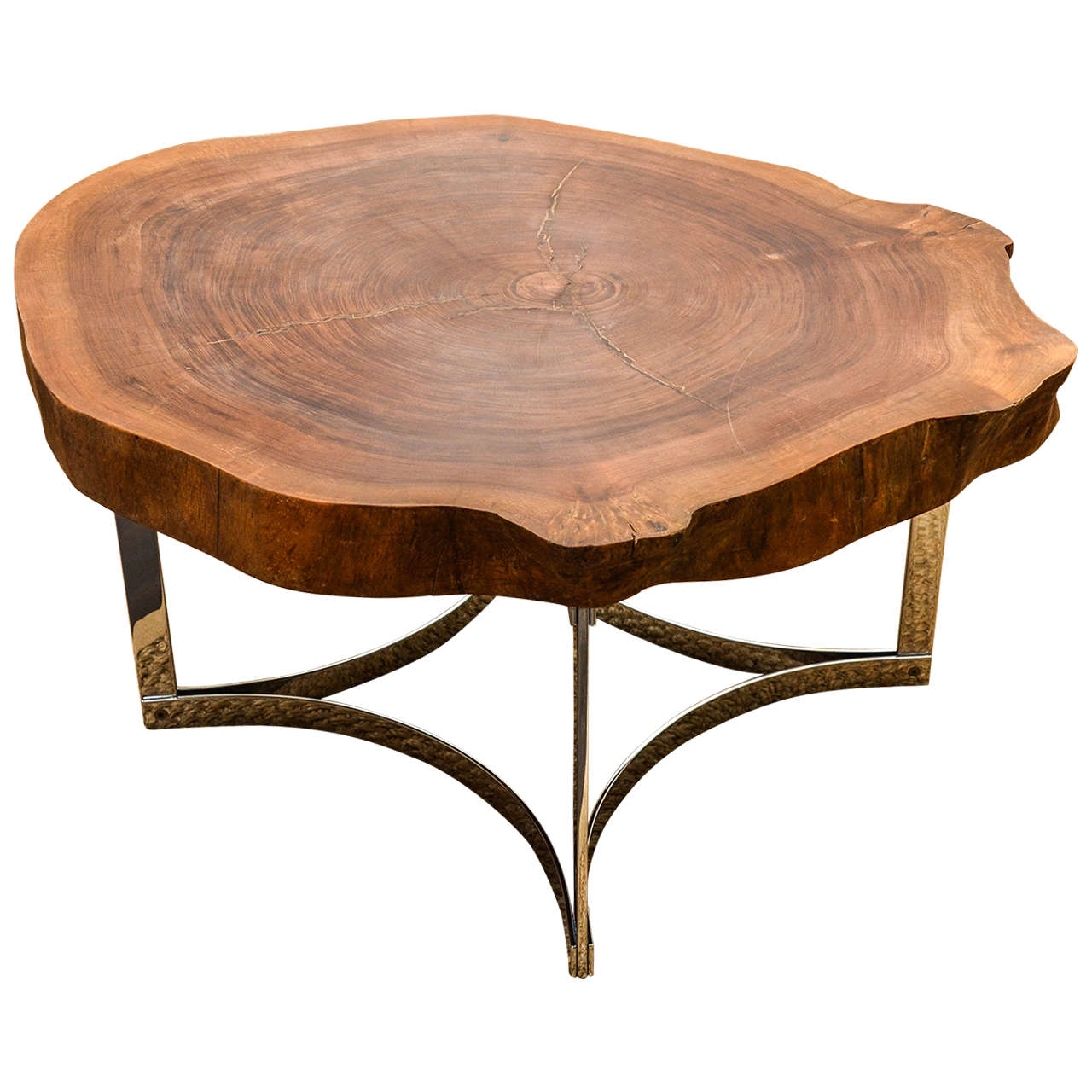 Delicieux Live Edge Table On Modernist Chrome Base For Sale