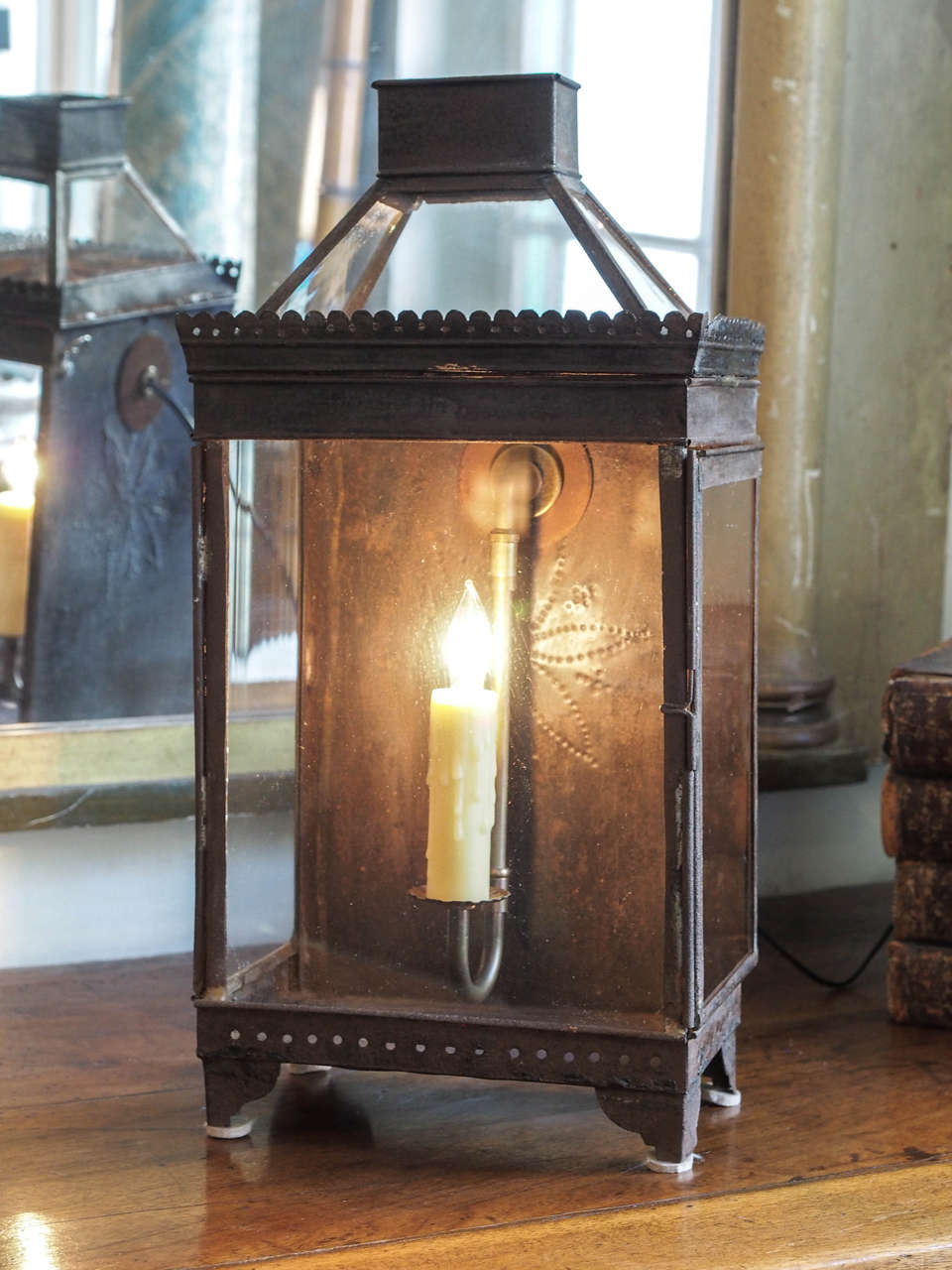 This handsome 19th century French lantern has a wonderful patina and the