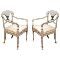 Pair of Early 19th Century Painted Swedish Armchairs