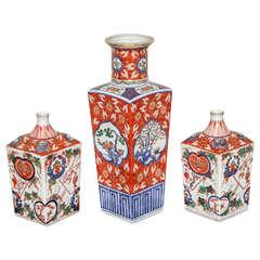 Set of Three Japanese Vases
