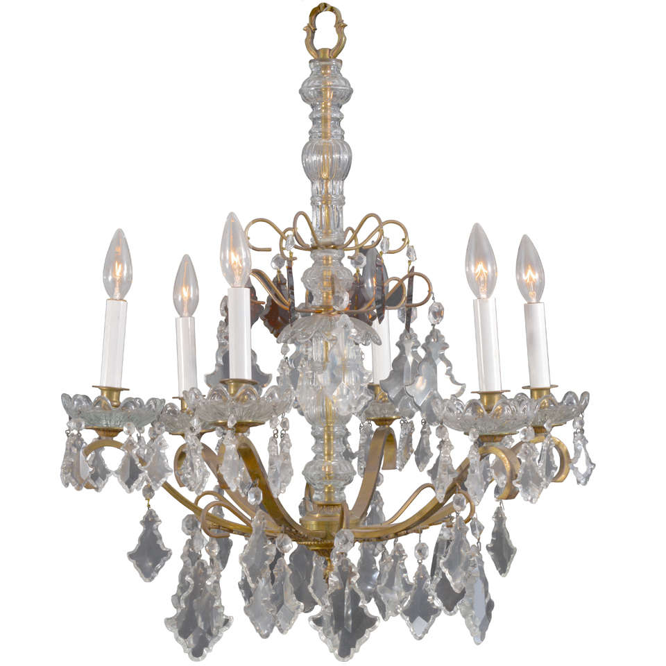 Unusual Vintage 6 Light Petite Crystal Italian Chandelier For Sale