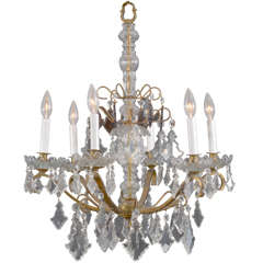 Unusual, Vintage, 6 Light Petite Crystal Italian Chandelier