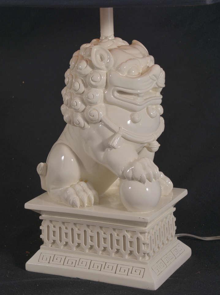Vintage Blanc De Chine Faux Porcelain Foo Dog Table
