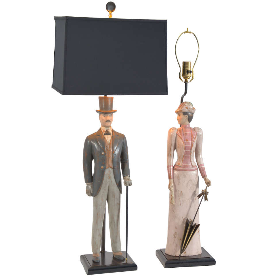 Italian Hand-Carved Figures as Lamps