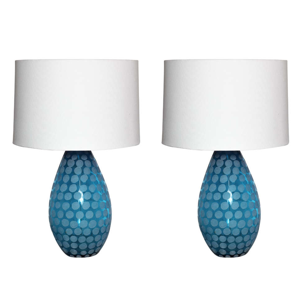 pair of turquoise murano glass table lamps at 1stdibs. Black Bedroom Furniture Sets. Home Design Ideas