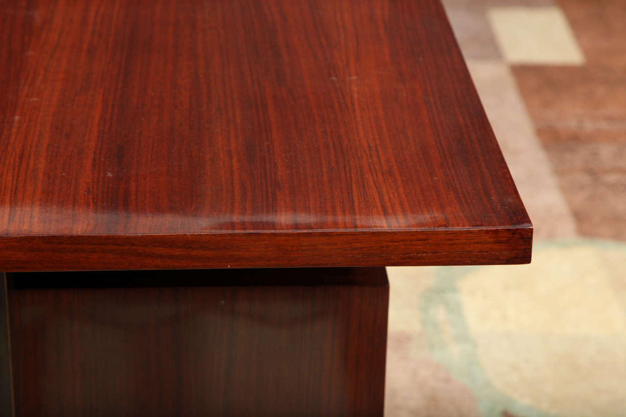 20th Century Maison Leleu, Mahogany Conference Desk with Extension, France, 1966 For Sale