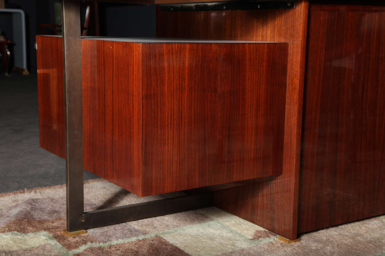 Maison Leleu, Mahogany Conference Desk with Extension, France, 1966 For Sale 1