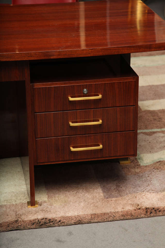 Maison Leleu, Mahogany Conference Desk with Extension, France, 1966 For Sale 2
