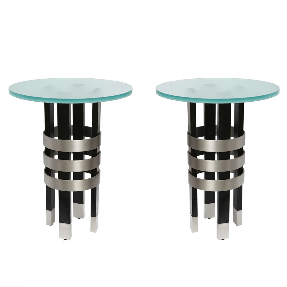 Pair of 1970s Architectural Side Tables