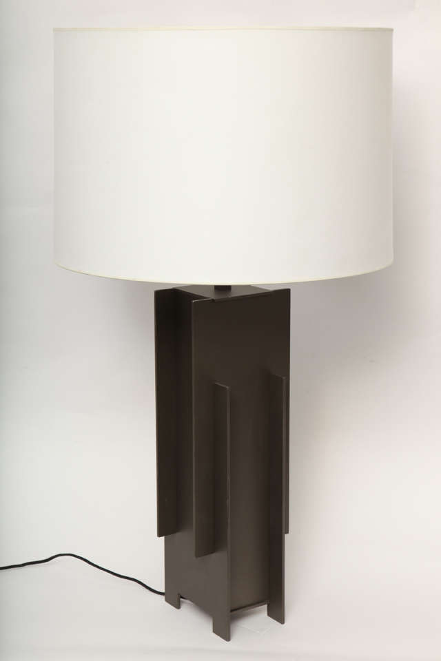 Alecia Wesner for George Kovacs table lamp Mid-Century Modern architectural mixed metals 1960s New sockets and rewired Shade not included.