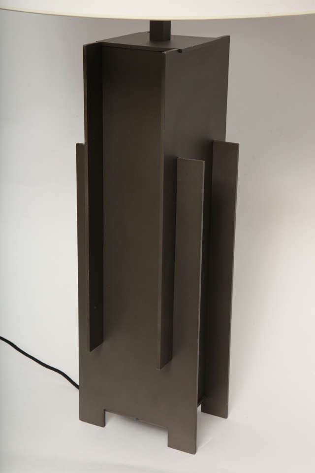 Alecia Wesner Table Lamp Mid-Century Modern Architectural Mixed Metals For Sale 2